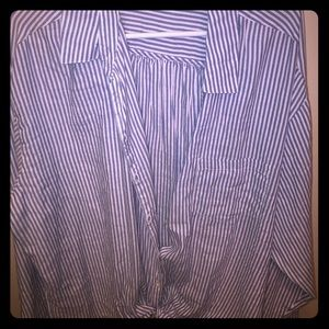 Tie front white striped top
